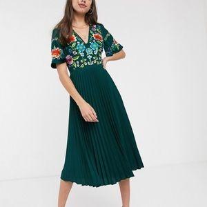 ASOS Pleated Embroidered Midi Dress Teal 6 NEW